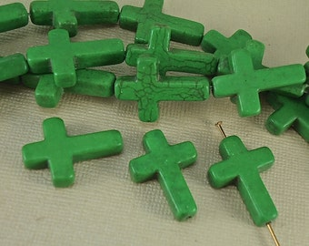 2 Cross Stone Beads 18 x 25mm  Howlite Green Gemstone Large Cross Beads Charms Natural Beads Large Saint Patrick's Day Kelly Green