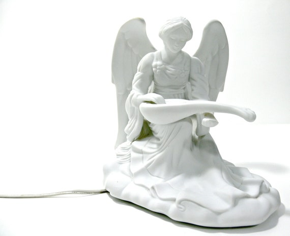 Vintage Bisque Angel Night Light White Porcelain By
