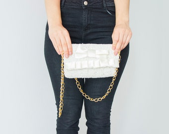 BAG // wedding clutch -white Clutch with satin bow and ruffles with removable light-wheight chain