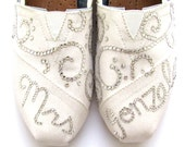 The Gonzalez - White Glitter with Swarovski Crystals Custom Wedding TOMS