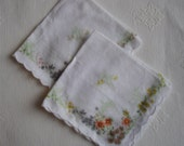 Vintage Handkerchief Pair - Wedding, Easter - Floral Pattern on Cotton, Scalloped Edges 1950s