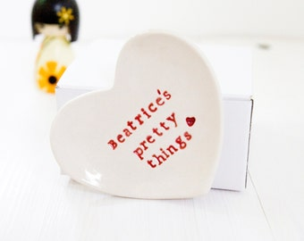 Ring Dish Personalised Gift Heart Jewelry Catcher
