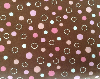 Cotton Fabric - Dots and circles design - Pink and Brown
