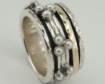 israel design Handmade 9K  Gold 925 Silver pearles Swivel Ring Size 8 (I r793)