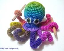 Crochet Tutorial, Octopus, Amigurumi Crocheted Octopus Pattern, Instant Download