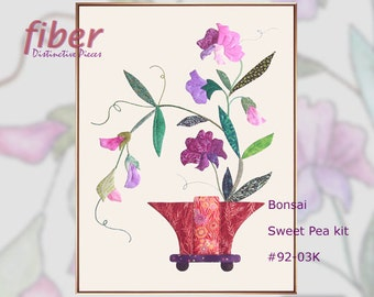 Bonsai Sweet Pea Kit - Original Applique Quilt Block Design, Cotton Designer Fabrics, Hi-Profile Hand Applique Sewing Instructions, Q92-03K