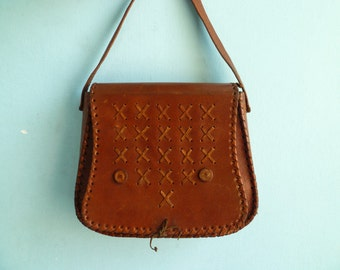 Vintage brown leather purse bag shoulder bag / hippie / 70s 80s