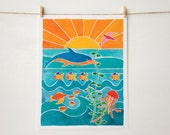 Colorful Beach Art - Sea Turtles, Dolphins, and Fish