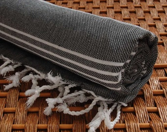 Classic COTTON PESHTEMAL Personalized Turkish Towel - Monogrammed Embroidered - Black