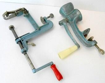 Vintage Kitchen Tool Aqua Kitchen Gadgets Turquoise Kitchen Tools Ideal  Seed Grinder NorPro Apple Peeler Slicer