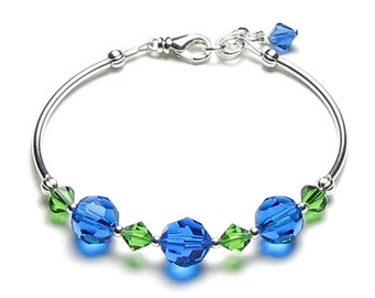 Earth Day Bracelet, Swarovski Crystal Silver Adjustable Bracelet, Mother Earth Jewelry, Blue Ocean, Go Green, Recycle, Eco Friendly Inspired