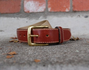 Vintage Belt Mens Size 34 Tan With Brown Thick Leather Brass Buckle Preppy Belt High Fashion Fall Classic Quality VTG Belts Hipster Sale