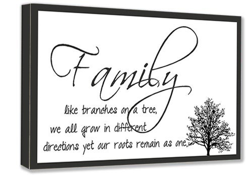 Like Branches On A Tree Quote: Framed Canvas Art Family Like Branches On A Tree We All Grow