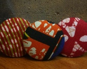 Set of Three Fabric Covered Button Pin/ Brooches in African Wax Prints