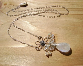 Moonstone Opal Sterling Flower Necklace