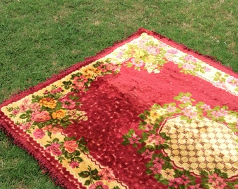 This Vintage Gypsy Boho Fringed Velvet Tapestry Throw Is Waiting For A New Home