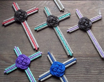 Cross Handmade with Rope Nautical Rustic Decor Cross Collectors Holiday Gifts