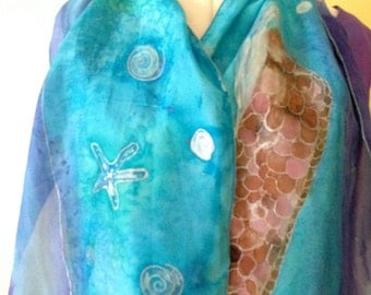 "Handpainted Original Silk ""The Breakwater"" Wearable Art by The Silk Maid"