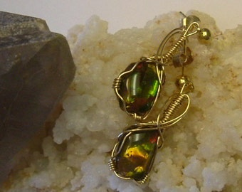 Bright Green, Yellow and Orange Gem Ammolite from Utah Deposit Wire Wrapped Earrings in Gold Filled Wire and 14K Gold Post Finding 142