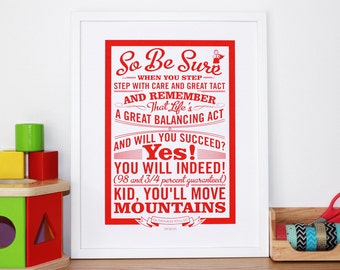 Oh The Places You'll Go! Screen Print - Dr Seuss Quote Wall Art - 18th Birthday Gift - Graduation Gift Print - Typography by Chatty Nora