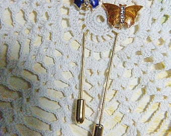 TWO Vintage Butterfly Stick Pins - BUT-40 - Butterfly Lot - Butterfly Stick Pin Lot