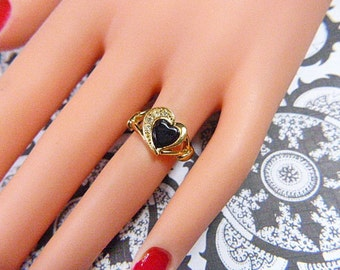 Vintage Black and Gold Heart Ring With Rhinestones - Size 4.75 - R-238