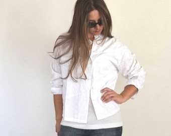 Embroidered Button Up 90s Vintage White Light Weight Shirt Jacket Top Small Medium