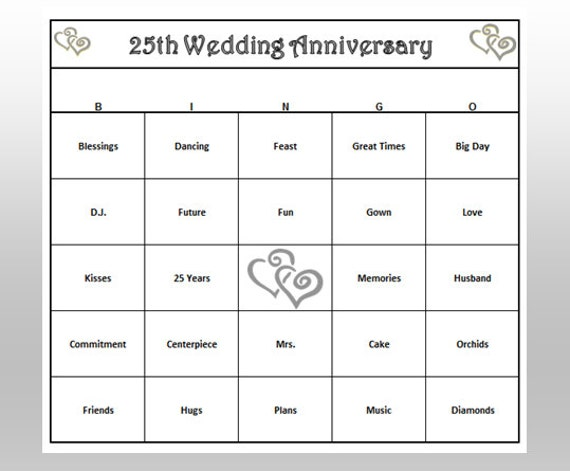 Th anniversary party bingo game cards by