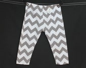 Gray, Grey and White Chevron Baby Toddler Knit Leggings Pants