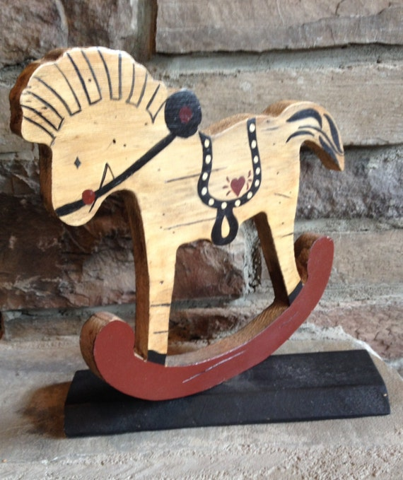Vintage wood rocking horse stand handcrafted by for Hand crafted rocking horse