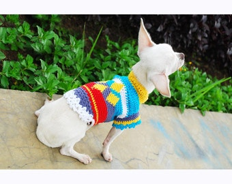 Dog Clothes Houndstooth Spring Colorful Pet Clothing Puppy Clothes Handmade Crochet Cotton DK829 by Myknitt - Free Shipping