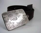Hammerhead Shark Belt Buckle - Etched Stainless Steel - Handmade