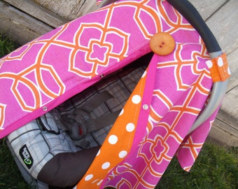 Car seat Cover Hot Orange Medallion carseat tent carseat canopy carseat cover READY TO SHIP