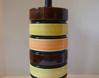 Mid-century Modern 1970s Big Chunky Column of Colorful Stripes, Ceramic Table Lamp