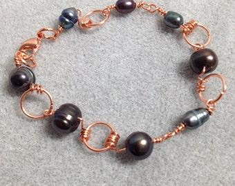 Copper wire wrapped fresh water pearl bracelet