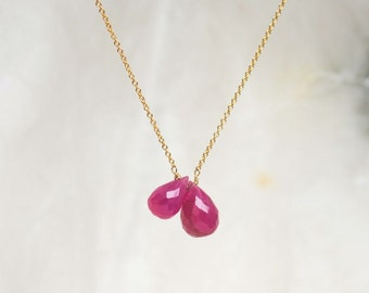 Ruby teardrop necklace - Double teardrops gold filled necklace