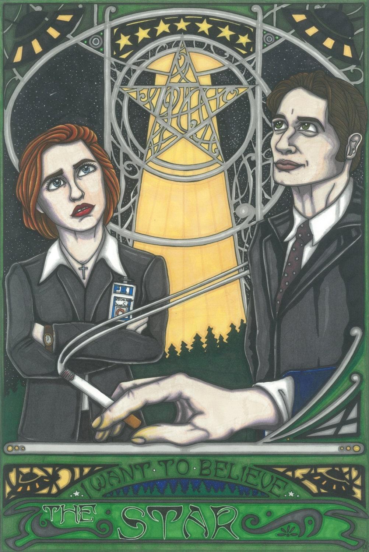 Tarot X The Wheel Of Fortune: CULT TV Tarot X-Files Postcard PRINT