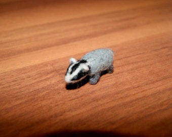 Felted badger, felt toy, super tiny, needle felted animal, soft sculpture, wild animal miniature, natural wool toy