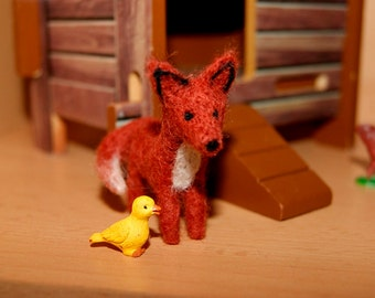 Fox toy, miniature fox, super tiny, needle felted red fox, felted wild animals, felt toy, natural wool toy