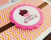 Happy Birthday Cupcake - Pink and Orange Chevron with fuchsia scallop and chocolate grosgrain ribbon - Invitations - Note Cards