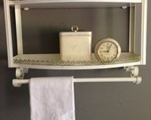 Mid Century Metal Shelf - Hollywood Regency Filigree Towel Rack