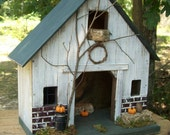 Primitive Lighted Rustic Fall Barn Stable Folk Art Worn White w/ dark green accents ~ Pumpkins ~ Comes w/ light and cord