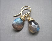 Labradorite Earrings in 14K Gold Fill, Wire Wrapped Handmade Blue Flash Labradorite Gemstone Earrings