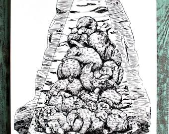 SALE! Bear Den Pile Illustration Screen Print