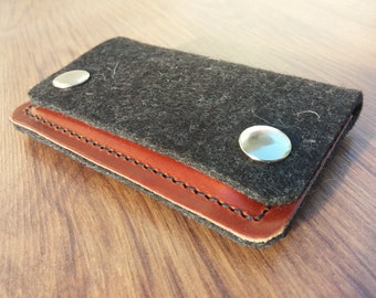 Card holder Credit card holder wallet felt wallet purse card wallet - Anthracite felt and dark brown leather
