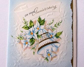 1940s vintage Embossed Anniversary card, unused, with envelope