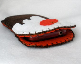 Felt Phone Case, Chocolate Cake,  iPhone Case, Galaxy, Android, Christmas Pudding
