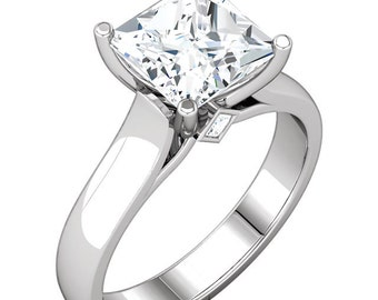 1.25  ct  Square Forever Brilliant Moissanite Solid 14K White Gold Diamond  Engagement Ring-ST232669