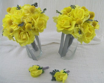 Grey and Yellow 4 Piece made to order  Brides maide bouquets Wedding Flower Package Billy Balls, Dusty Miller ,YeLLoW  ReaL TouCH RoSeS