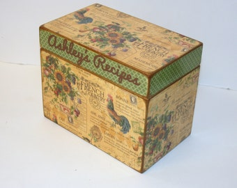 Recipe Box, French Country Recipe Box, 4x6 Recipe Box, French Country Kitchen, Rooster, Sunflowers, 4 x 6 Wooden Recipe Box
